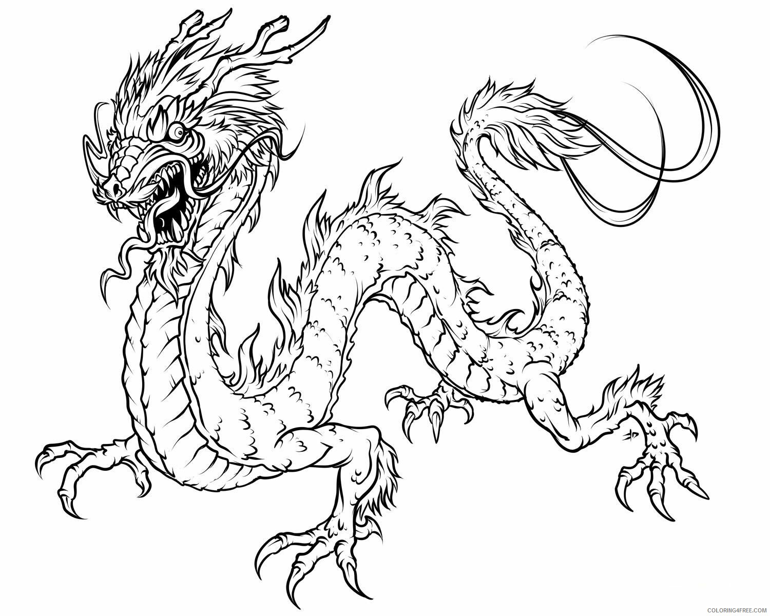 Fantasy Dragons Coloring Pages Wingless Dragon for Adults Printable 2021 2597 Coloring4free