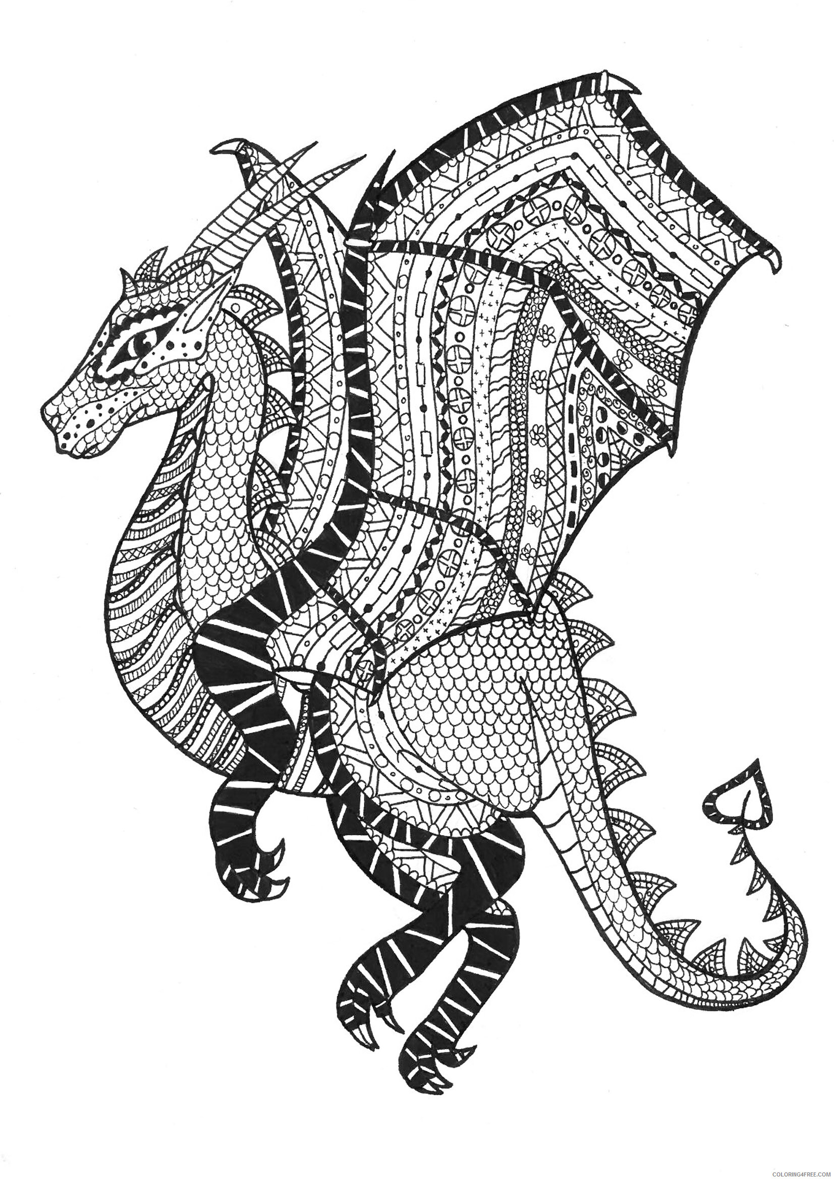 Fantasy Dragons Coloring Pages Zen Dragon Adult Printable 2021 2598 Coloring4free