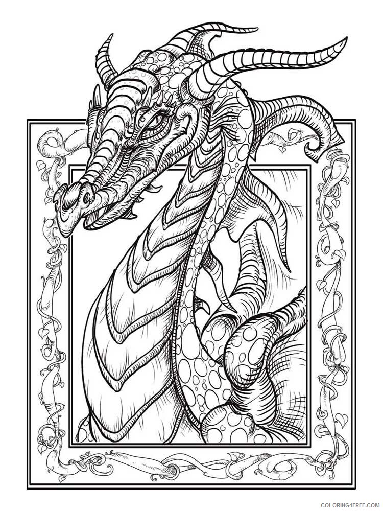 Fantasy Dragons Coloring Pages dragon for adults 1 Printable 2021 2564 Coloring4free