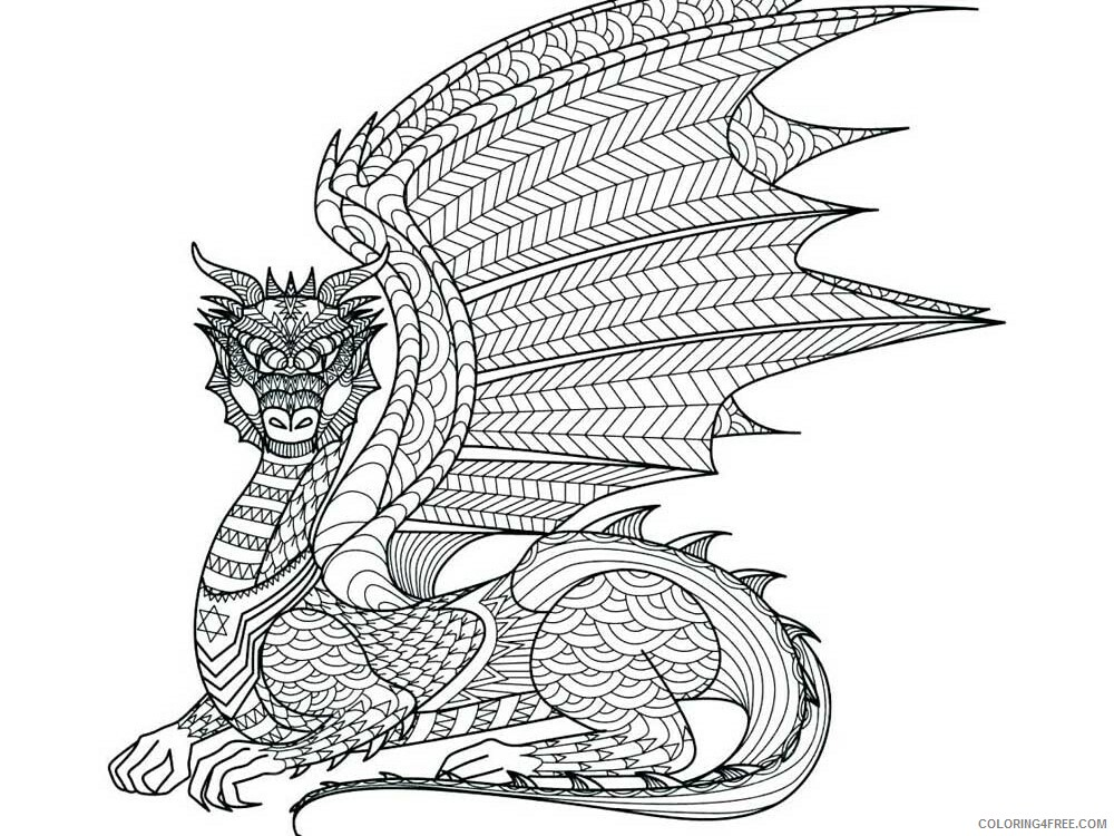 Fantasy Dragons Coloring Pages dragon for adults 10 Printable 2021 2565 Coloring4free