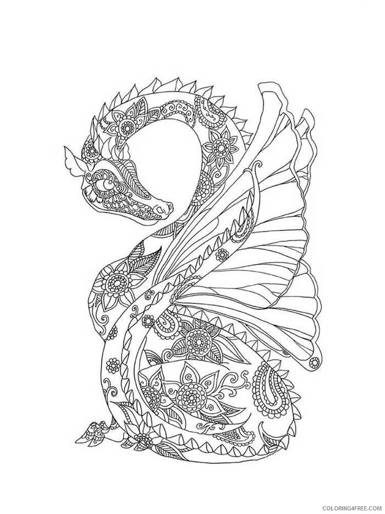 Fantasy Dragons Coloring Pages dragon for adults 15 Printable 2021 2569 Coloring4free