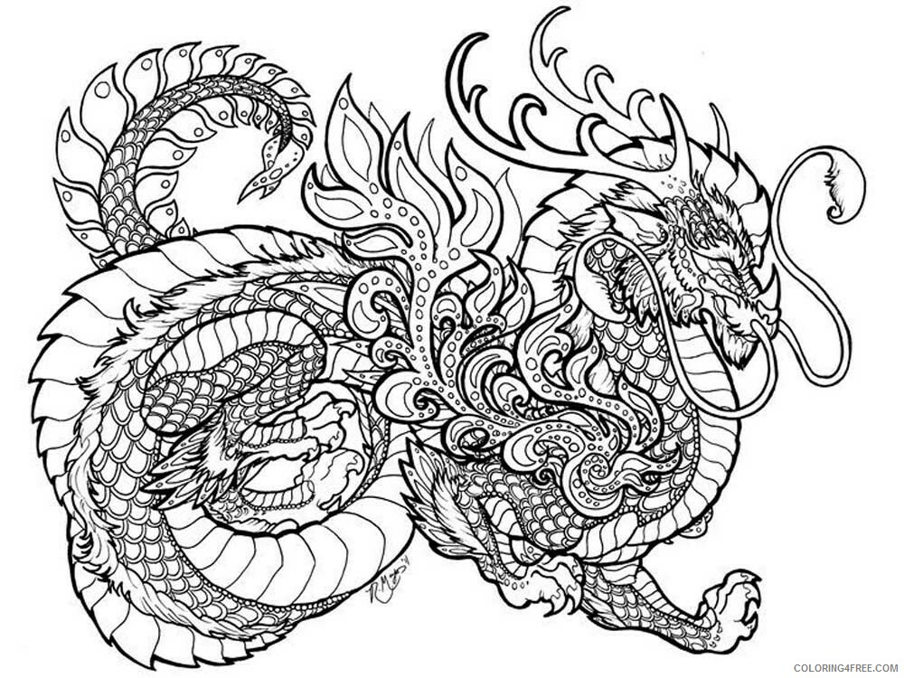 Fantasy Dragons Coloring Pages dragon for adults 2 Printable 2021 2570 Coloring4free