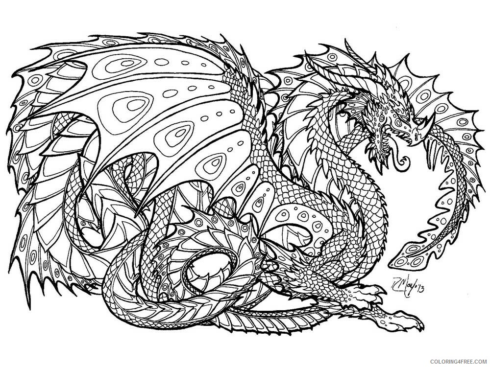 Fantasy Dragons Coloring Pages dragon for adults 4 Printable 2021 2571 Coloring4free