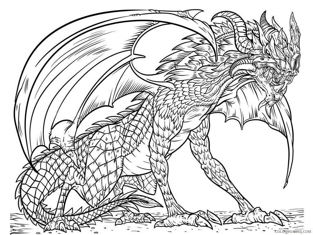 Fantasy Dragons Coloring Pages dragon for adults 5 Printable 2021 2572 Coloring4free