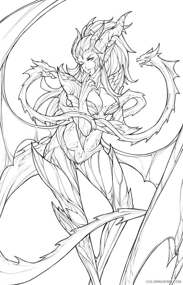 Fantasy Dragons Coloring Pages dragon_sorceress_zyra Printable 2021 2532 Coloring4free