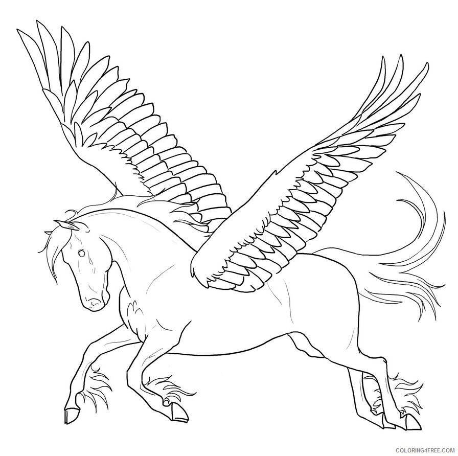 Fantasy Pegasus Coloring Pages Pegasus Images Printable 2021 2634 Coloring4free