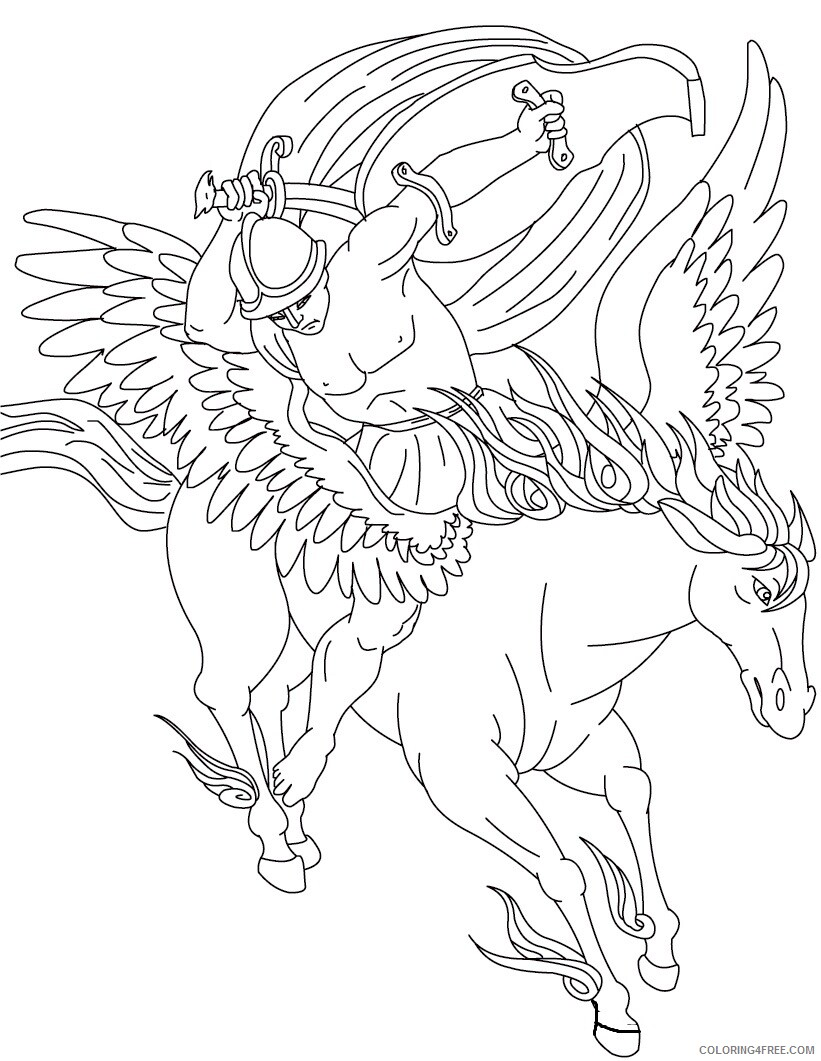 Fantasy Pegasus Coloring Pages Pegasus Printable 2021 2637 Coloring4free