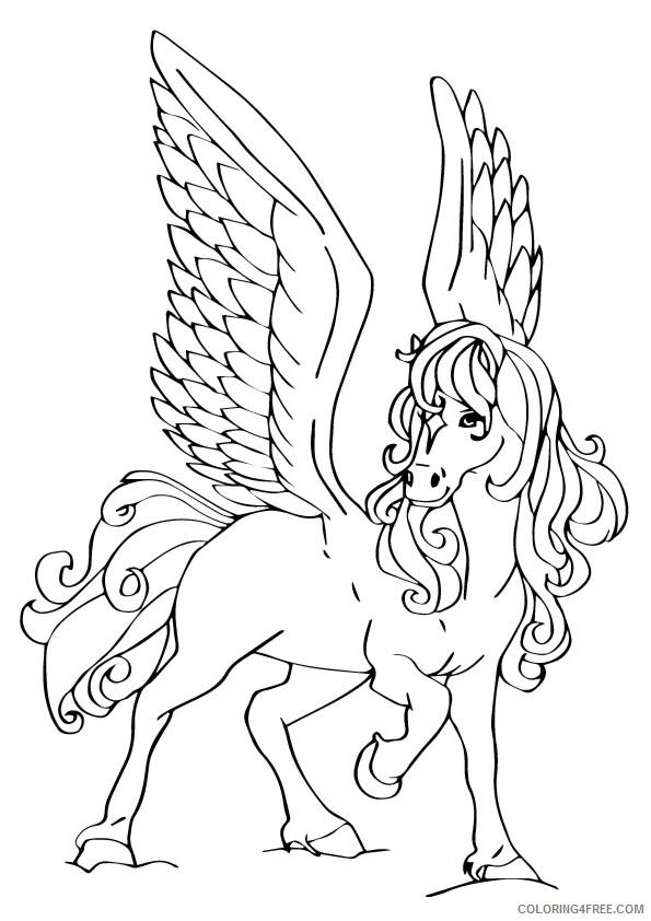 Fantasy Pegasus Coloring Pages beautiful pegasus Printable 2021 2629 Coloring4free