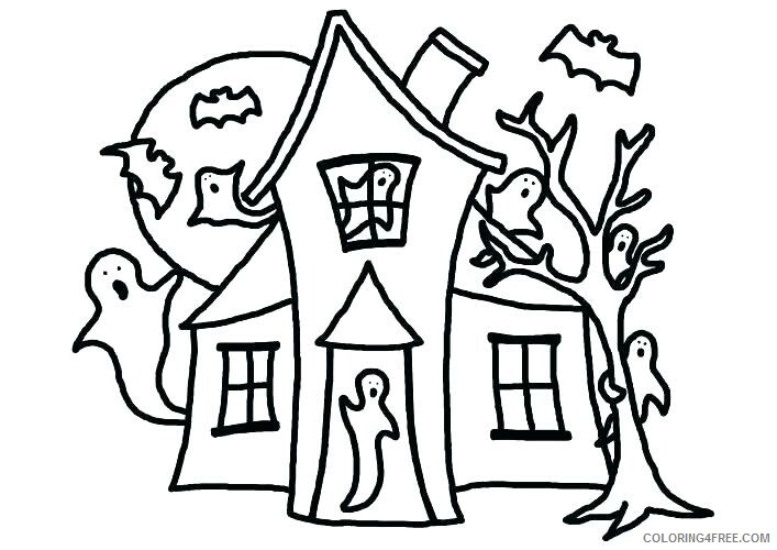Ghost Coloring Pages Easy Ghosts Halloween for Kids Printable 2021 2805 Coloring4free