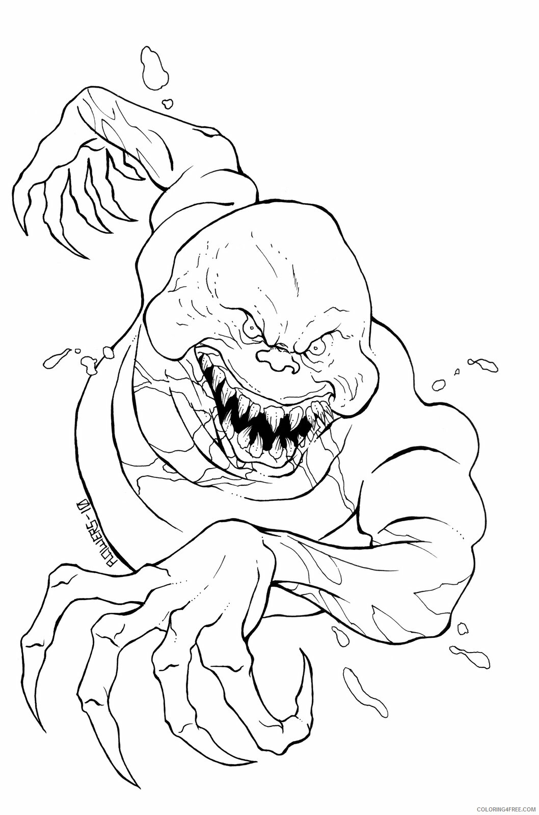 Ghost Coloring Pages Evil Ghost Scary Printable 2021 2806 Coloring4free