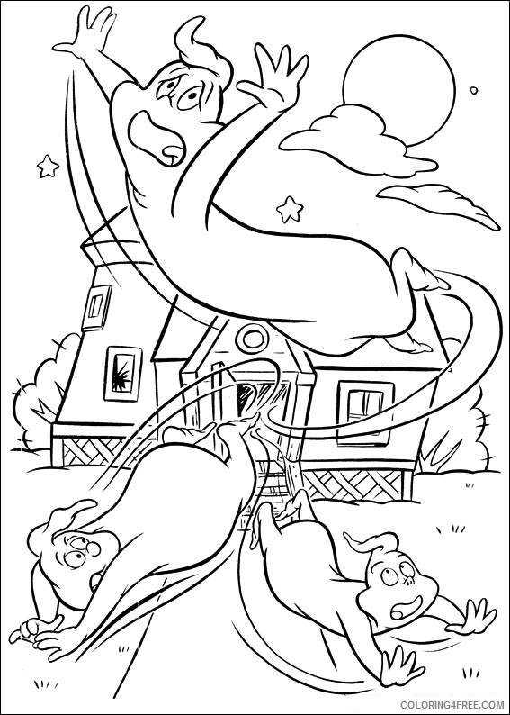 Ghost Coloring Pages ghostly trio in panic Printable 2021 2802 Coloring4free
