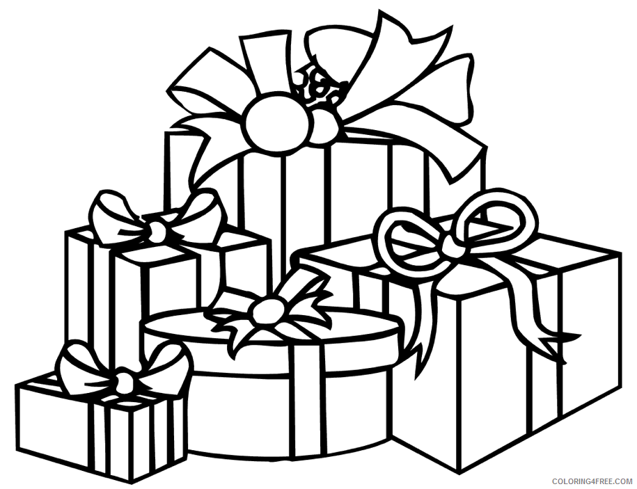Gifts Coloring Pages Gift Boxes Printable 2021 2885 Coloring4free