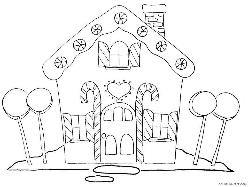 Gingerbread House Coloring Pages Gingerbread House Printable 2021 2900 Coloring4free