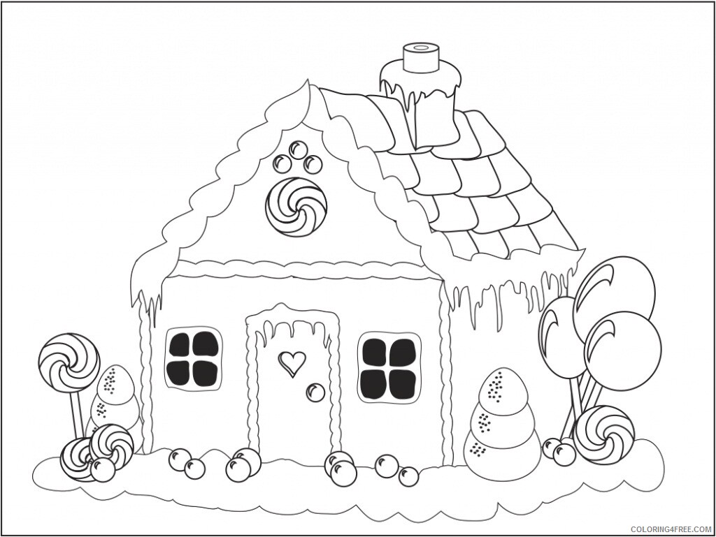Gingerbread House Coloring Pages Printable Gingerbread House Printable 2021 2905 Coloring4free
