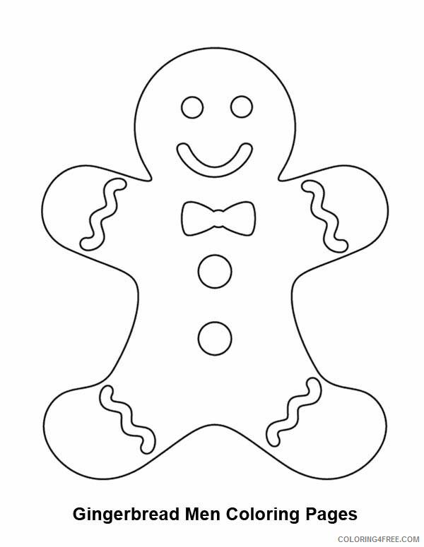 Gingerbread Men Coloring Pages Smiling Gingerbread Men Printable 2021 2922 Coloring4free