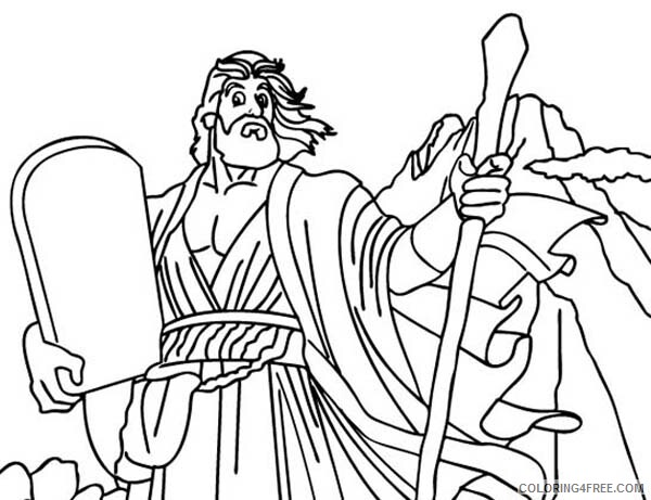 God Coloring Pages God Spoke with Moses with Ten Commandments Printable 2021 2986 Coloring4free