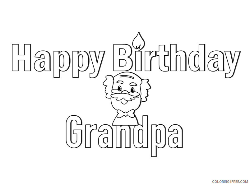 Grandpa Coloring Pages Happy Birthday for Grandpa Printable 2021 3021 Coloring4free