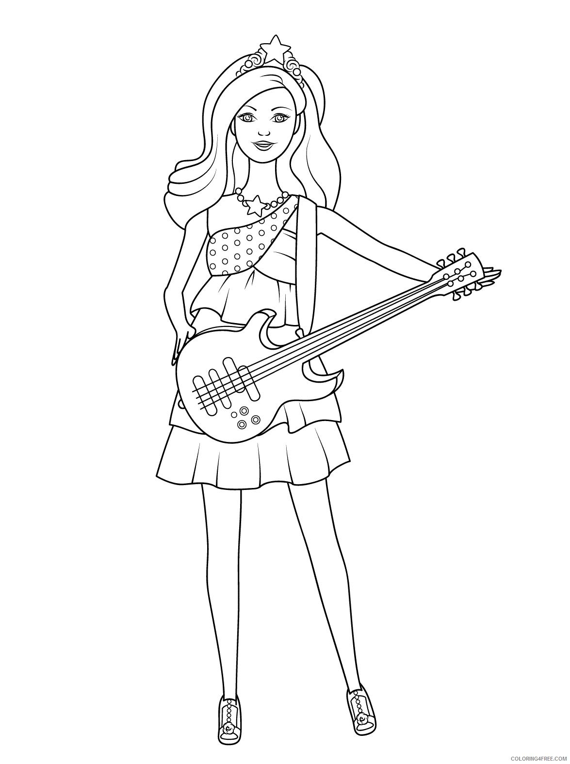 Guitar Coloring Pages Barbie Princess Guitar Printable 2021 3041 Coloring4free