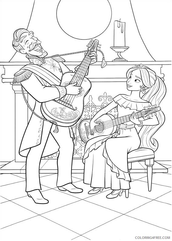 Guitar Coloring Pages elena playing guitar Printable 2021 3043 Coloring4free