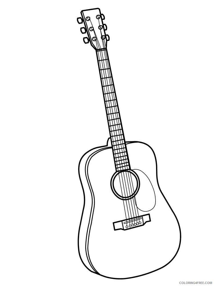 Guitar Coloring Pages guitar 12 Printable 2021 3046 Coloring4free