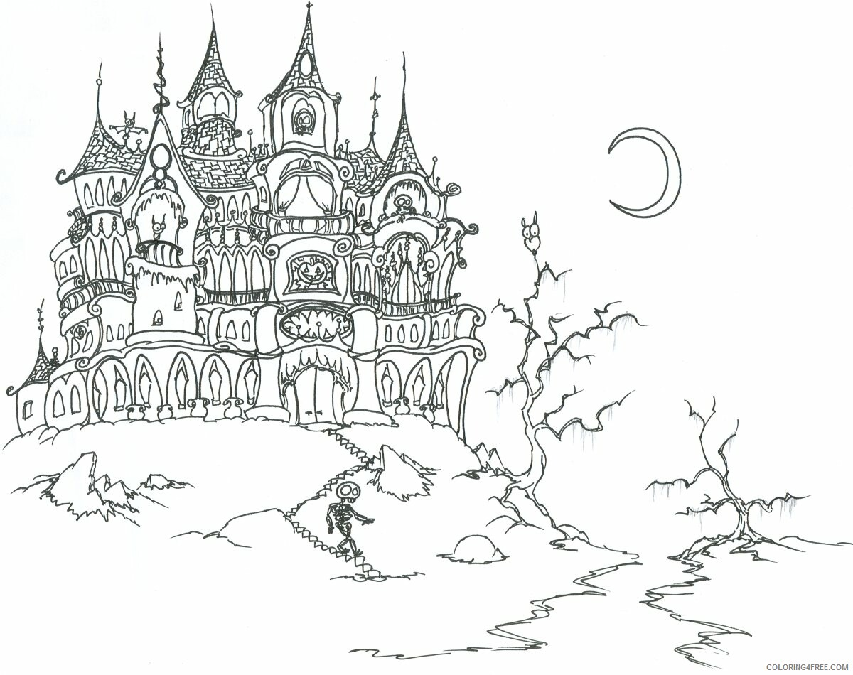 Haunted House Coloring Pages Haunted House Printable 2021 3111 Coloring4free