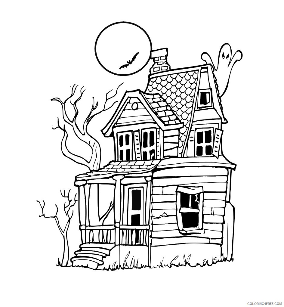 Haunted House Coloring Pages Haunted House Printable 2021 3114 Coloring4free