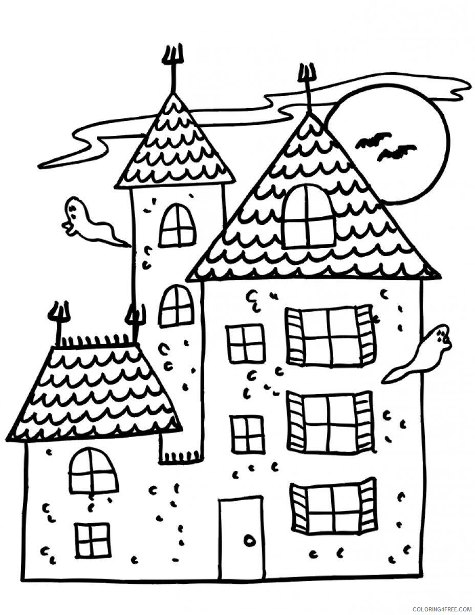 Haunted House Coloring Pages Haunted House for Kids Printable 2021 3113 Coloring4free