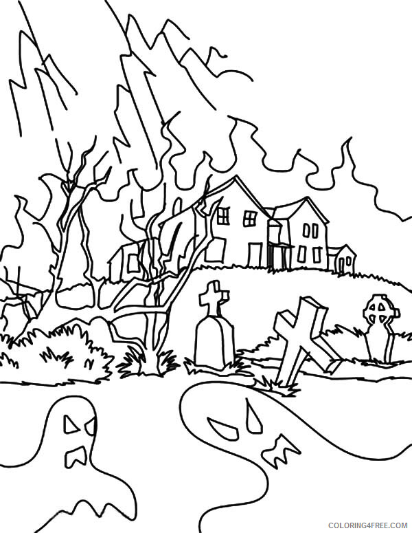 Haunted House Coloring Pages Hideous Devil from Haunted House Printable 2021 3120 Coloring4free