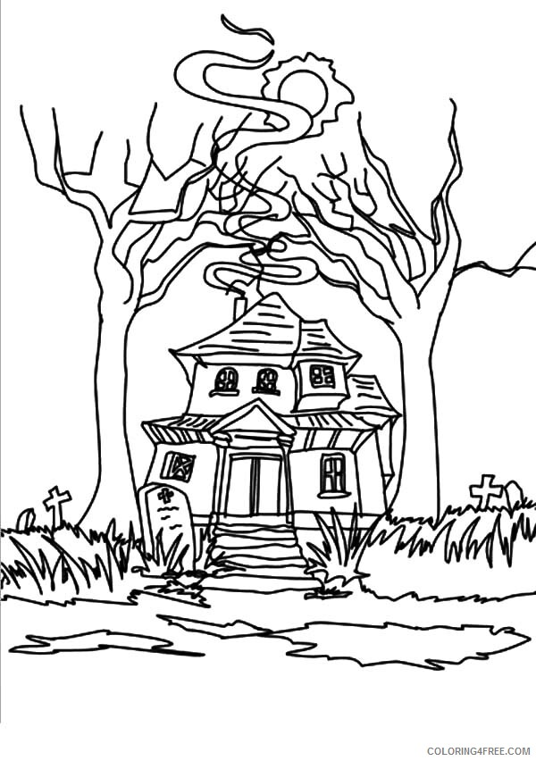 Haunted House Coloring Pages Strange Haunted House Printable 2021 3123 Coloring4free
