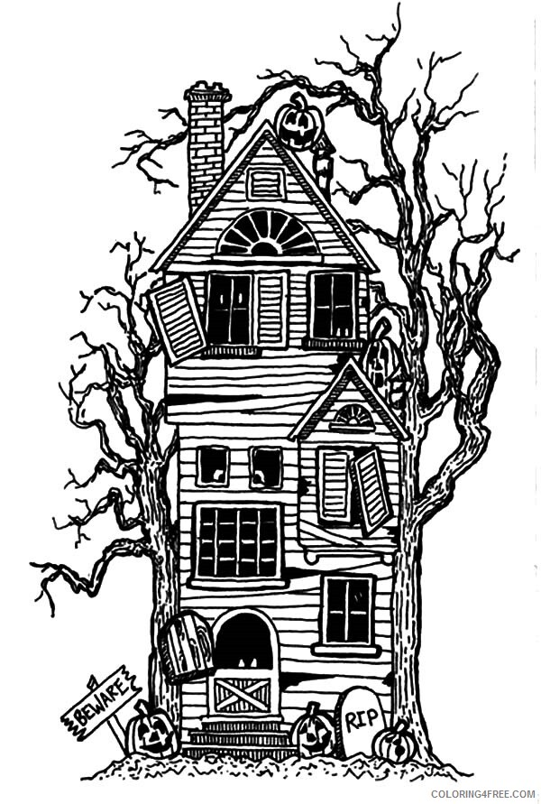 Haunted House Coloring Pages Terrifying Haunted House Printable 2021 3124 Coloring4free
