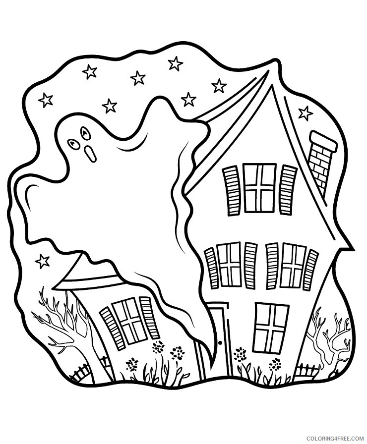 Haunted House Coloring Pages haunted houses with ghost Printable 2021 3118 Coloring4free