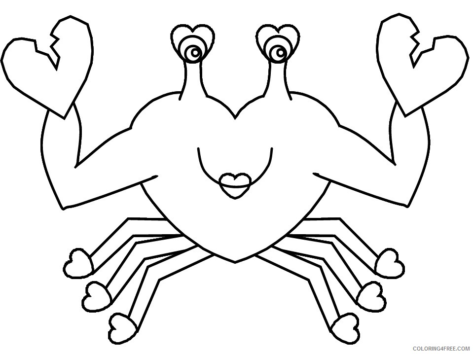 Heart Animal Coloring Pages heart crab Printable 2021 3205 Coloring4free