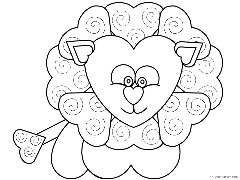 Heart Animal Coloring Pages heart lion Printable 2021 3213 Coloring4free