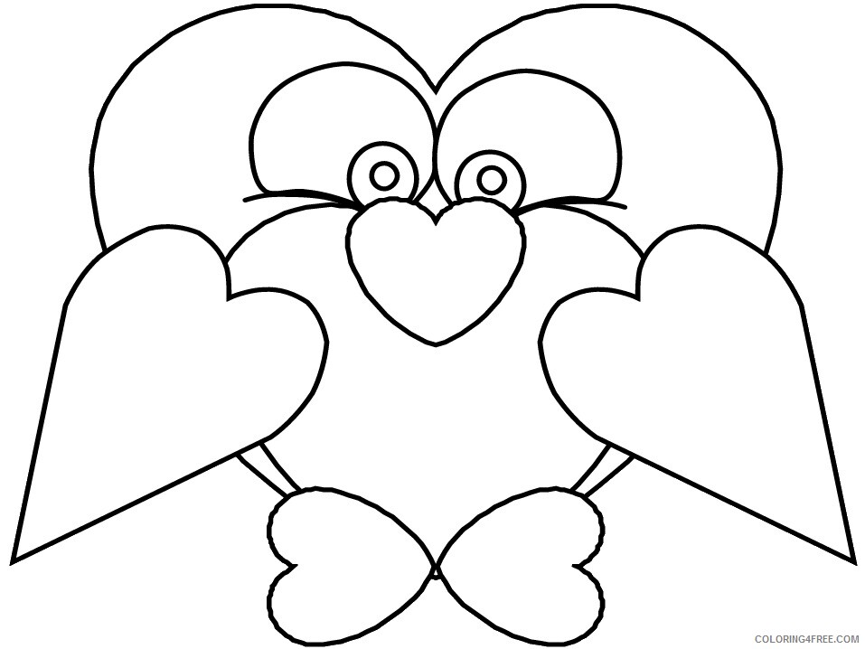 Heart Animal Coloring Pages heart penguin Printable 2021 3216 Coloring4free