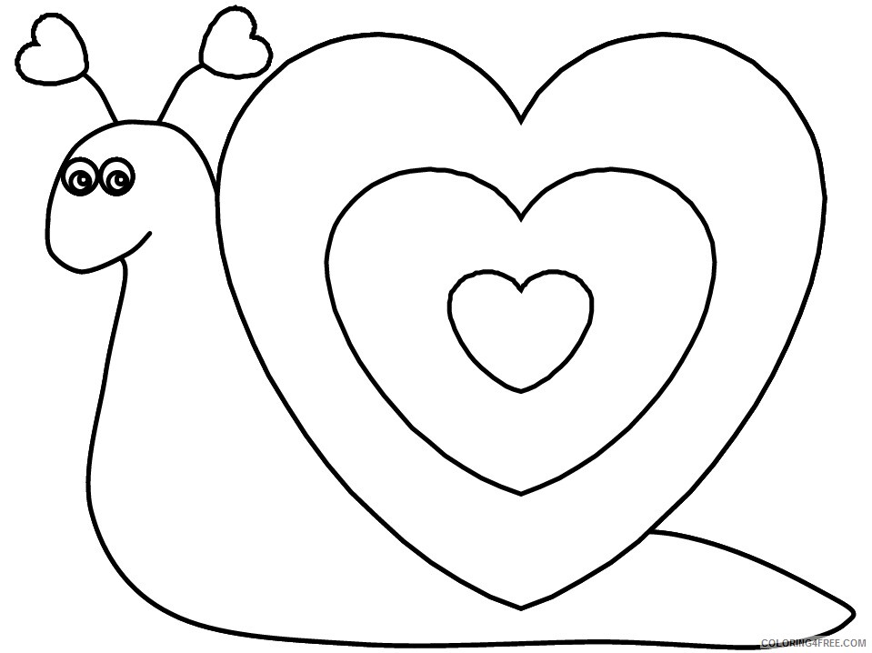 Heart Animal Coloring Pages heart snail Printable 2021 3221 Coloring4free