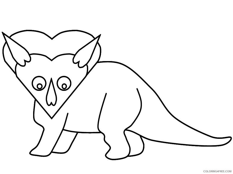 Heart Animal Coloring Pages heart triceratops Printable 2021 3222 Coloring4free