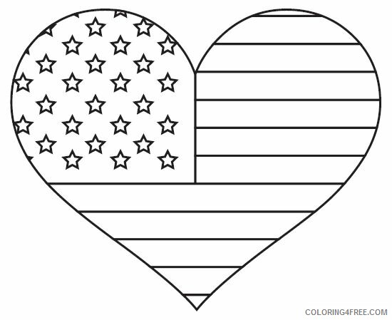 Heart Coloring Pages American Flag Heart Printable 2021 3134 Coloring4free
