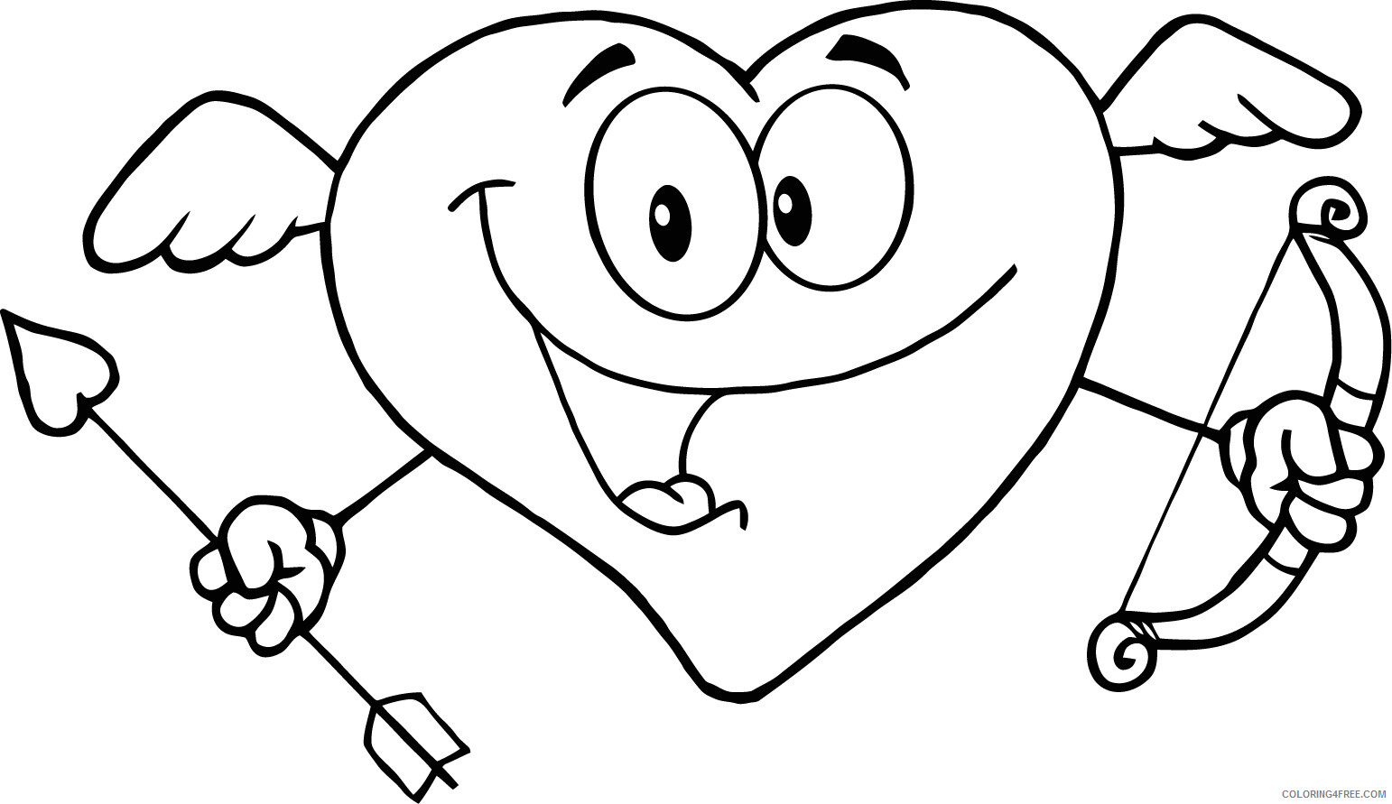 Heart Coloring Pages Heart with Wings Printable 2021 3160 Coloring4free