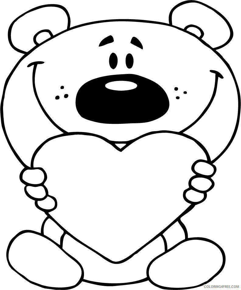 Heart Coloring Pages Teddy and Heart for Girls Printable 2021 3196 Coloring4free