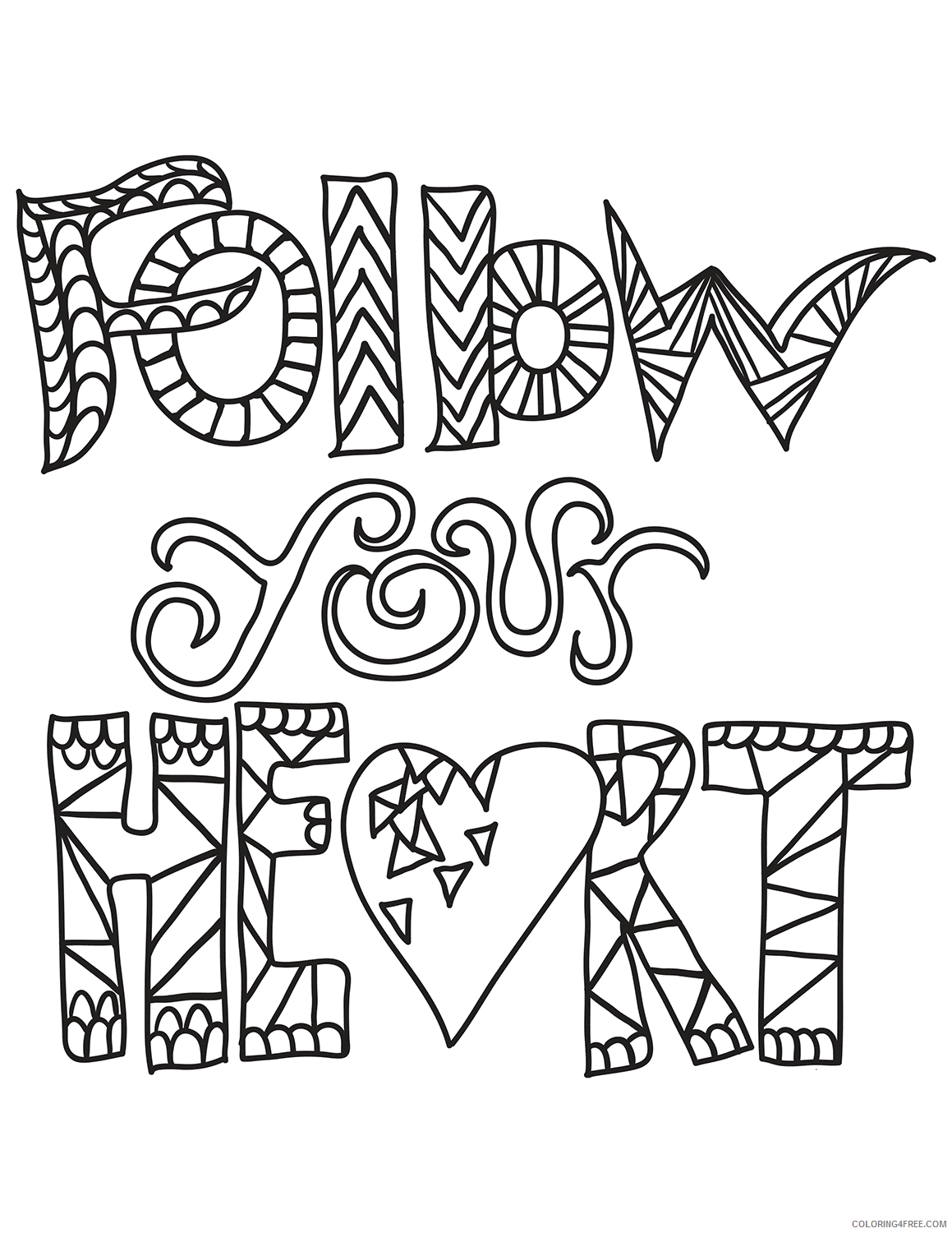 Heart Coloring Pages follow your heart Printable 2021 3150 Coloring4free