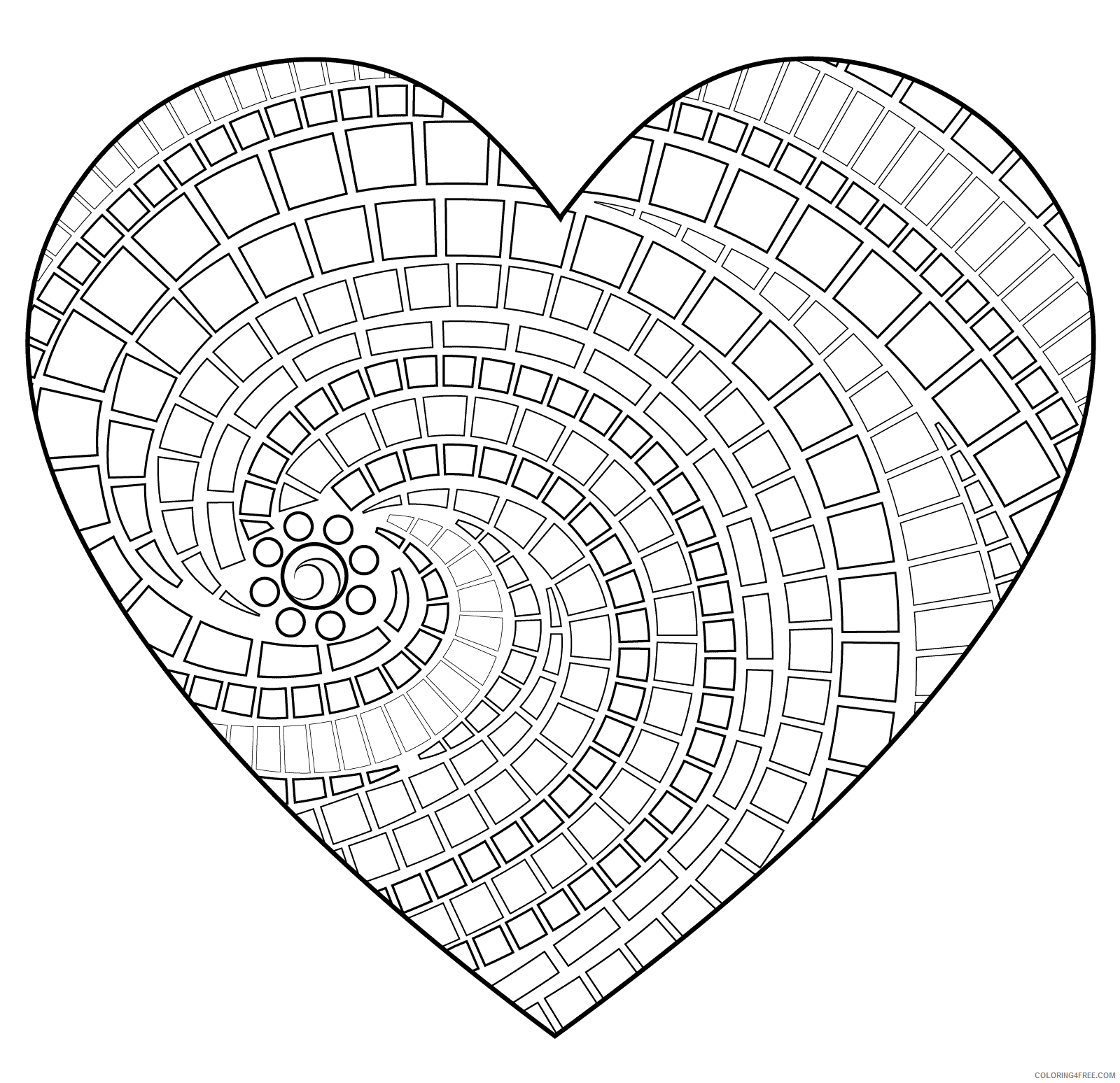 Heart Coloring Pages heart mosaic Printable 2021 3169 Coloring4free