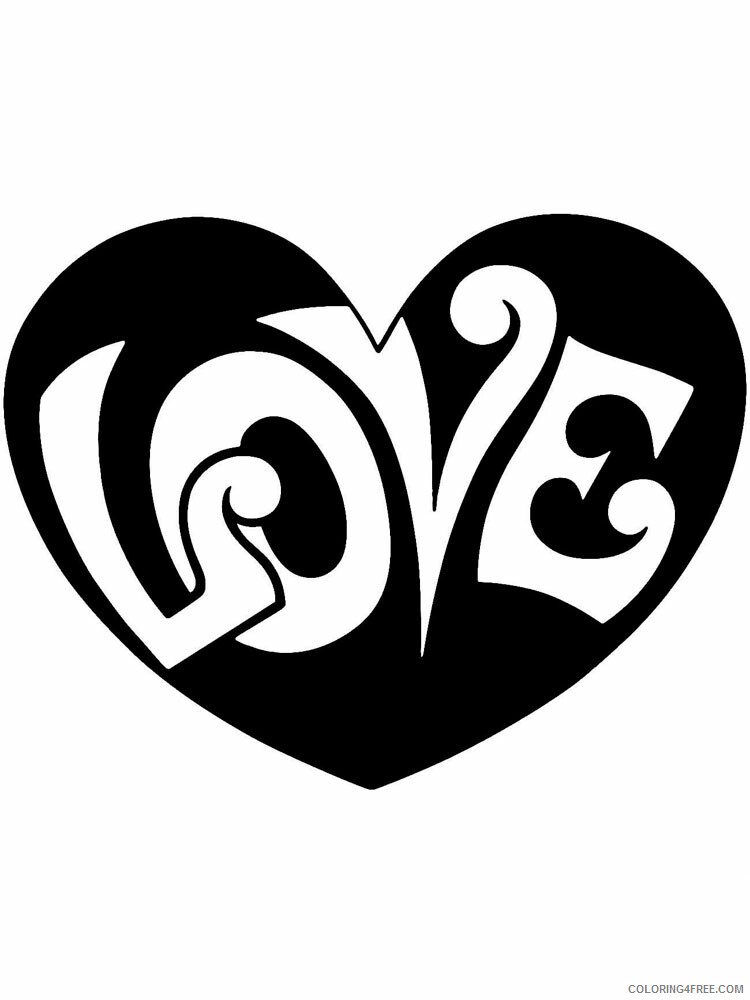 Heart Coloring Pages heart stencils 11 Printable 2021 3183 Coloring4free