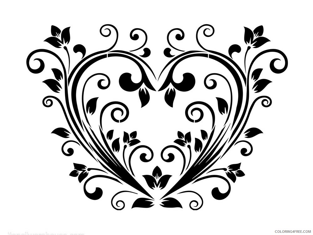 Heart Coloring Pages heart stencils 17 Printable 2021 3184 Coloring4free