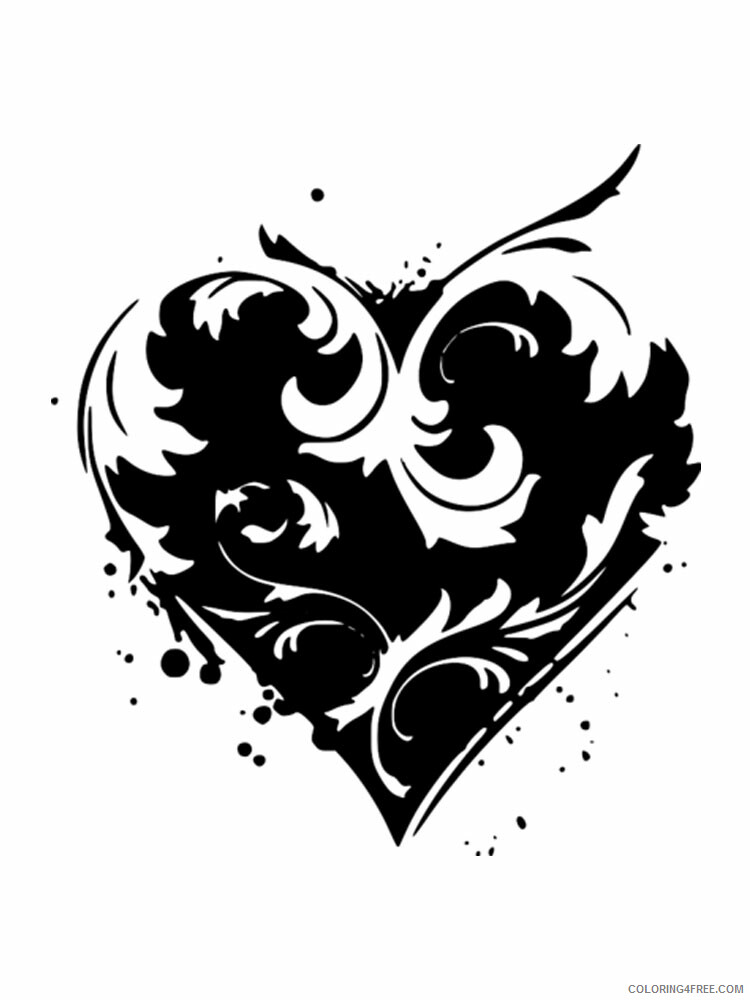 Heart Coloring Pages heart stencils 2 Printable 2021 3185 Coloring4free