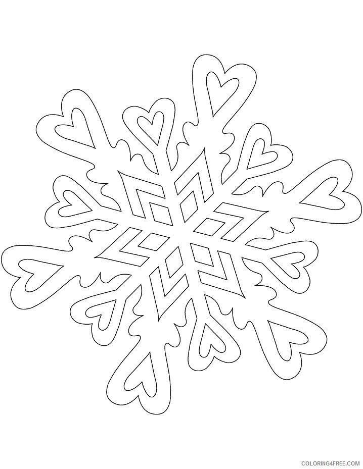 Heart Coloring Pages snowflake pattern with hearts Printable 2021 3195 Coloring4free