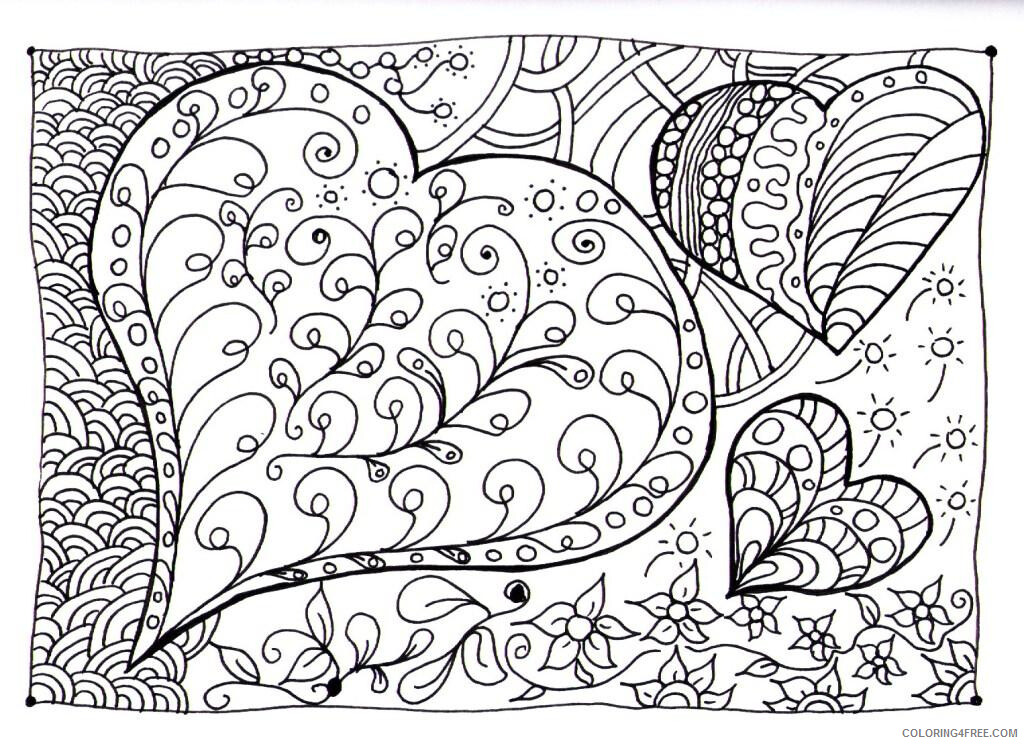Heart Doodle Coloring Pages Heart Doodle Printable 2021 3227 Coloring4free