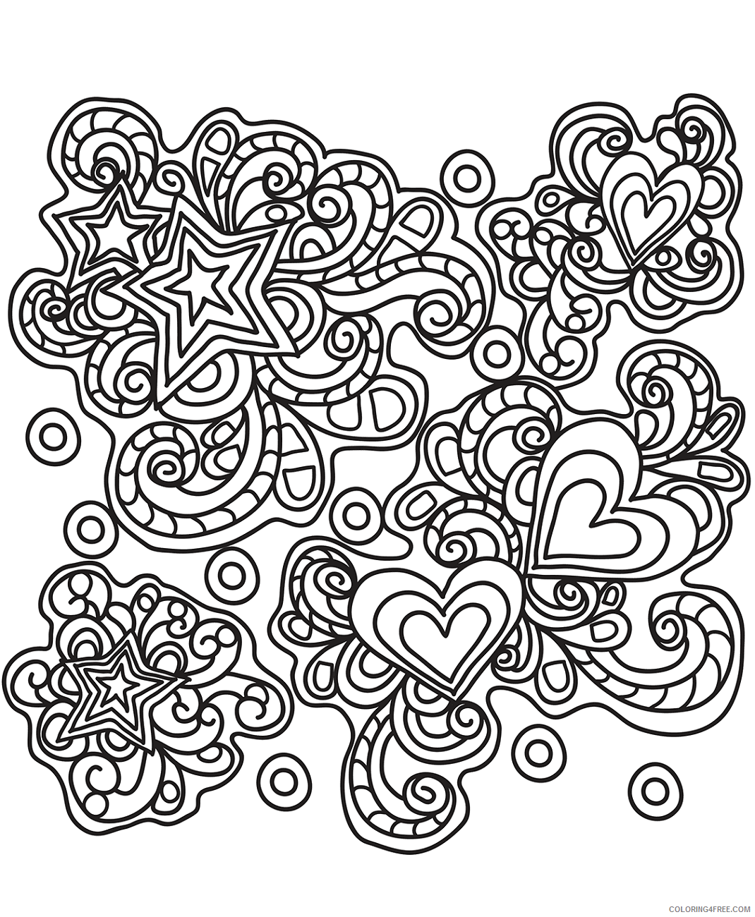 Heart Doodle Coloring Pages hearts_doodle_art Printable 2021 3228 Coloring4free