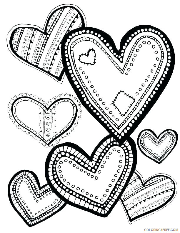 Hearts Coloring Pages Heart Designs Printable 2021 3241 Coloring4free