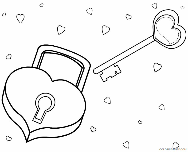 Hearts Coloring Pages Heart Lock and Key Love Printable 2021 3242 Coloring4free