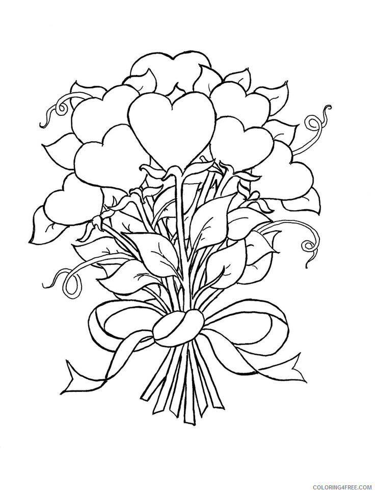 Hearts Coloring Pages Roses and Hearts 2 Printable 2021 3257 Coloring4free